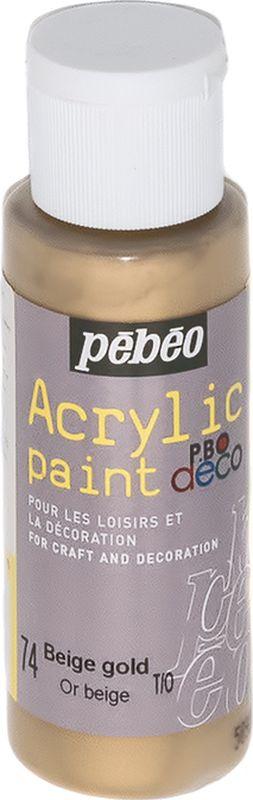 Pebeo Краска акриловая декоративная Acrylic Paint цвет 097074 золотисто-бежевый металлик 59 мл097074Декоративные акриловые краски Acrylic Paint предназначены для росписи по дереву, гипсу, картону и другим поверхностям Краски смешиваются друг с другом Водостойкие после высыхания Обладают высокой покрывной способностью Имеют матовый блеск Разводятся водой