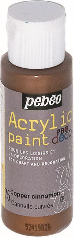 Pebeo Краска акриловая декоративная Acrylic Paint цвет 097075 медный металлик 59 мл097075Декоративные акриловые краски Acrylic Paint предназначены для росписи по дереву, гипсу, картону и другим поверхностям Краски смешиваются друг с другом Водостойкие после высыхания Обладают высокой покрывной способностью Имеют матовый блеск Разводятся водой