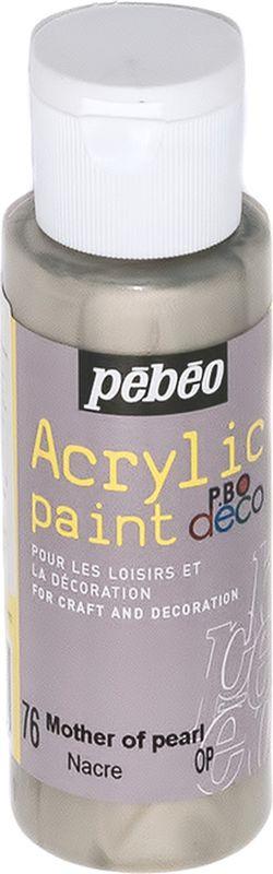 Pebeo Краска акриловая декоративная Acrylic Paint цвет 097076 жемчужный перламутровый 59 мл097076Декоративные акриловые краски Acrylic Paint предназначены для росписи по дереву, гипсу, картону и другим поверхностям Краски смешиваются друг с другом Водостойкие после высыхания Обладают высокой покрывной способностью Имеют матовый блеск Разводятся водой
