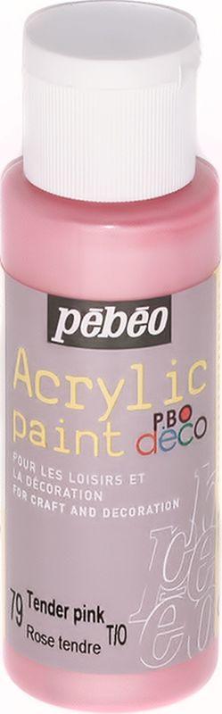 Pebeo Краска акриловая декоративная Acrylic Paint цвет 79 нежный розовый перламутровый 59 мл097079Декоративные акриловые краски Acrylic Paint предназначены для росписи по дереву, гипсу, картону и другим поверхностям. - Краски смешиваются друг с другом. - Водостойкие после высыхания. - Обладают высокой покрывной способностью. - Имеют матовый блеск. - Разводятся водой.