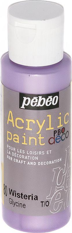 Pebeo Краска акриловая декоративная Acrylic Paint цвет 097080 глициния перламутровый 59 мл097080Декоративные акриловые краски Acrylic Paint предназначены для росписи по дереву, гипсу, картону и другим поверхностям Краски смешиваются друг с другом Водостойкие после высыхания Обладают высокой покрывной способностью Имеют матовый блеск Разводятся водой
