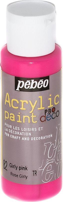 Pebeo Краска акриловая декоративная Acrylic Paint цвет 097082 розовый неоновый 59 мл097082Декоративные акриловые краски Acrylic Paint предназначены для росписи по дереву, гипсу, картону и другим поверхностям Краски смешиваются друг с другом Водостойкие после высыхания Обладают высокой покрывной способностью Имеют матовый блеск Разводятся водой