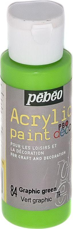 Pebeo Краска акриловая декоративная Acrylic Paint цвет 84 зеленый неоновый 59 мл097084Декоративные акриловые краски Acrylic Paint предназначены для росписи по дереву, гипсу, картону и другим поверхностям.- Краски смешиваются друг с другом.- Водостойкие после высыхания.- Обладают высокой покрывной способностью.- Имеют матовый блеск.- Разводятся водой.