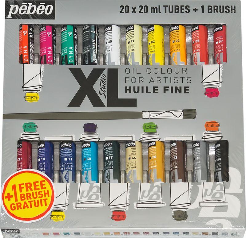 Pebeo Краска масляная набор XL с кистью 20 цветов 920221 20 мл920221Состав: 20 туб по 20мл, 1 кисть Краска подходит для холста, грунтованного картона, дерева, ДВП или ДСПИспользуется для любых техник, для лессировок и для пастозной живописи Высыхание в течение 3-6 днейПокрытие лаком через 6-9 мес
