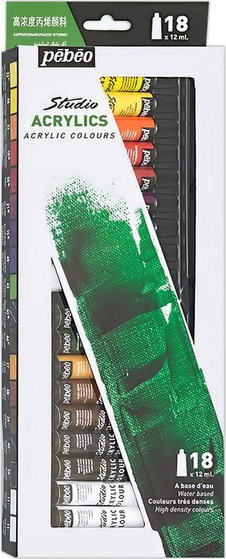 Pebeo Краска акриловая набор Studio Acrylics 18 цветов 668210 12 мл668210Состав: 18 цветов по 12 млГустая консистенцияЦвета живые и глубокие, богато пигментированные, имеют сатиновый блеск и очень хорошую светостойкость Краска обладает прекрасной адгезией, не смывается после высыханияНаносится на холст, картон, дерево, металл и другие поверхности Сохнет от 30мин до 1час, полное высыхание 1-8 дней в зависимости от толщины слоя Очистка инструментов: вода