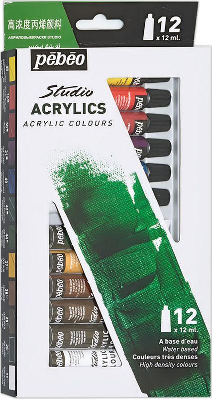 Pebeo Краска акриловая набор Studio Acrylics 12 цветов 668200 12 мл668200Состав: 12 цветов по 12 млГустая консистенцияЦвета живые и глубокие, богато пигментированные, имеют сатиновый блеск и очень хорошую светостойкость Краска обладает прекрасной адгезией, не смывается после высыханияНаносится на холст, картон, дерево, металл и другие поверхности Сохнет от 30мин до 1час, полное высыхание 1-8 дней в зависимости от толщины слоя Очистка инструментов: вода