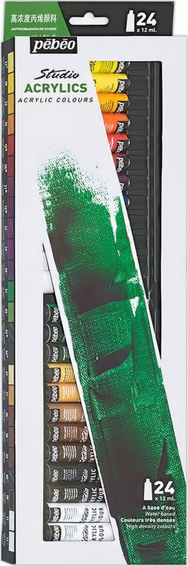 Pebeo Краска акриловая набор Studio Acrylics 24 цвета 668220 12 мл668220Состав: 24 цвета по 12 мл Густая консистенция Цвета живые и глубокие, богато пигментированные, имеют сатиновый блеск и очень хорошую светостойкость Краска обладает прекрасной адгезией, не смывается после высыхания Наносится на холст, картон, дерево, металл и другие поверхности Сохнет от 30мин до 1час, полное высыхание 1-8 дней в зависимости от толщины слоя Очистка инструментов: вода