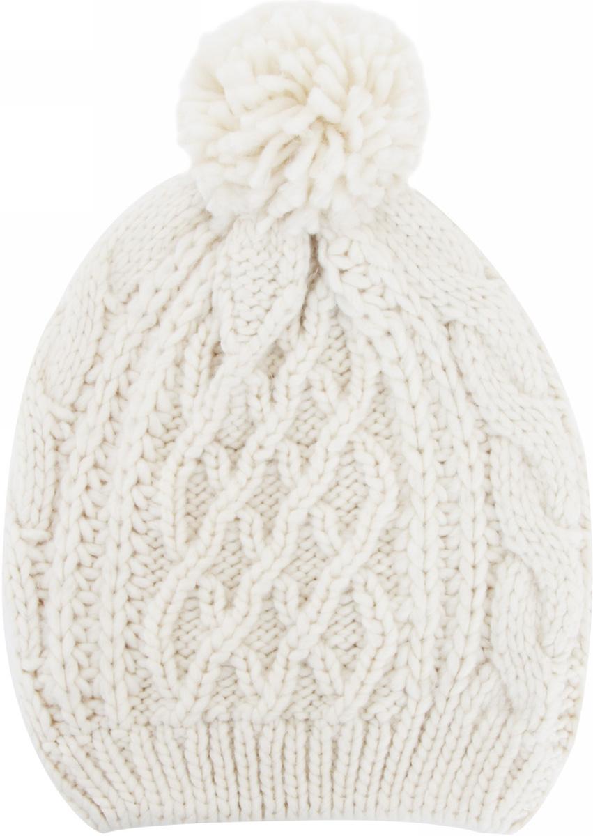 Шапка мужская oodji, цвет: белый. 8L042035M/16828N/1200N. Размер S/L (56/58)8L042035M/16828N/1200NМужская вязаная шапка от oodji выполнена из акриловой пряжи. Шапка фактурной вязки дополнена помпоном.