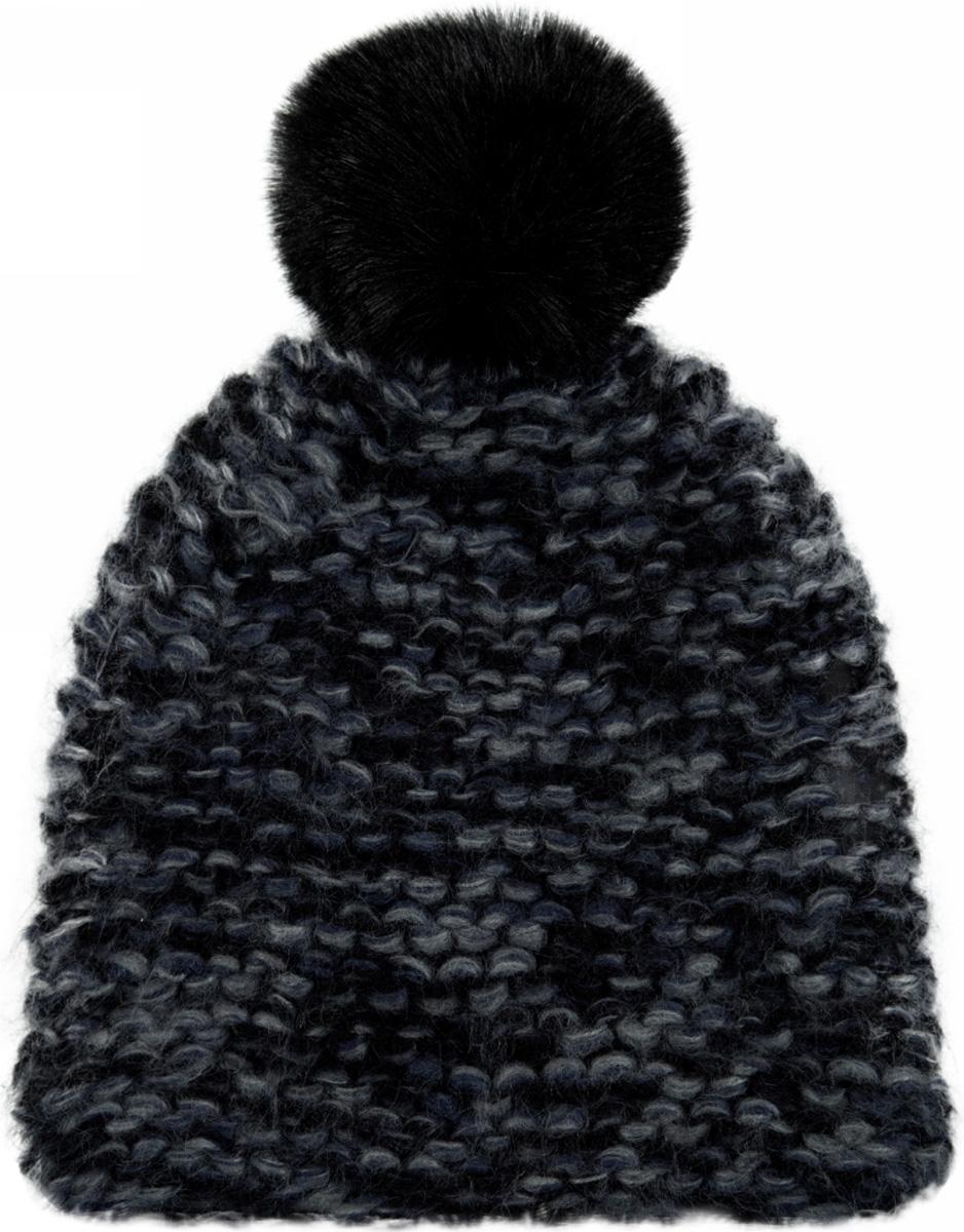 Шапка женская oodji, цвет: черный, темно-синий меланж. 47602072/47479/2979M. Размер XS/L (55/58)47602072/47479/2979MЖенская вязаная шапка от oodji выполнена из акриловой пряжи. Шапка крупной вязки дополнена помпоном.