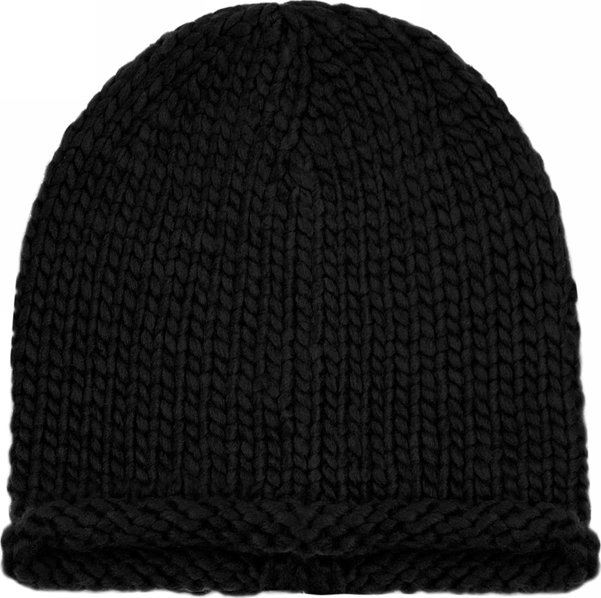 Шапка женская oodji, цвет: черный. 47602071/47284/2900N. Размер XS/L (55/58)47602071/47284/2900NЖенская вязаная шапка от oodji выполнена из акриловой пряжи.