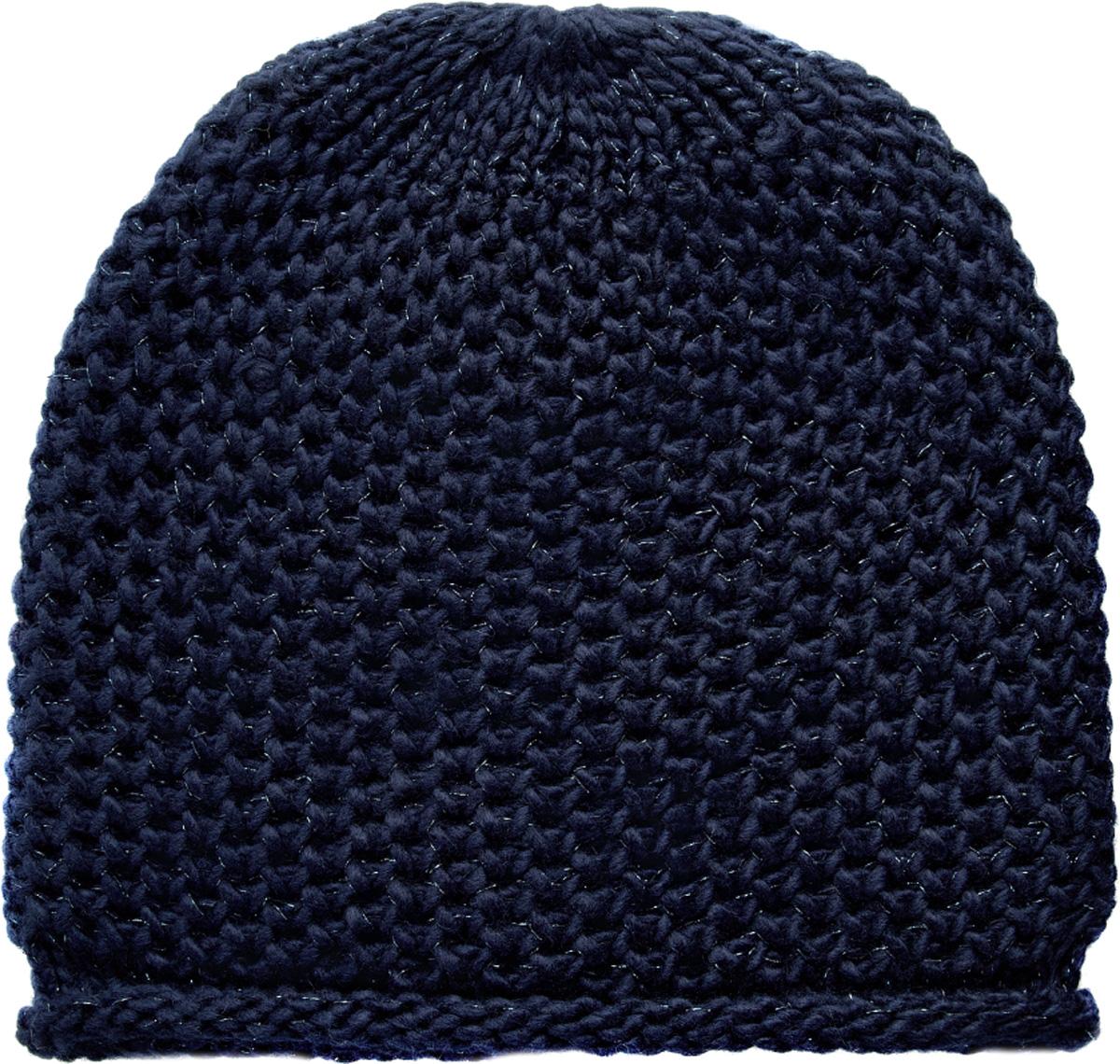 Шапка женская oodji, цвет: темно-синий. 47602059-1/47107/7900X. Размер XS/L (55/58)47602059-1/47107/7900XЖенская вязаная шапка от oodji выполнена из акриловой пряжи с добавлением люрекса.
