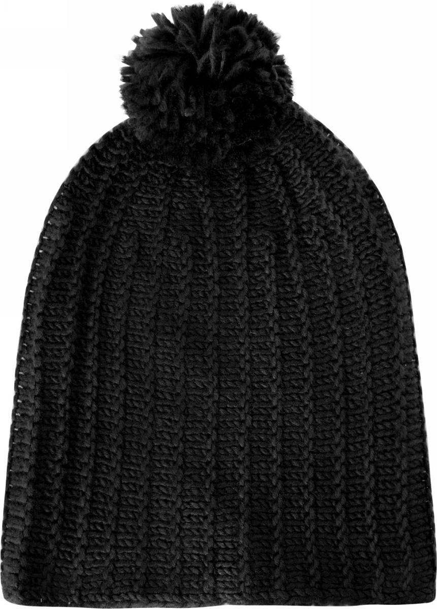 Шапка женская oodji, цвет: черный. 47602049/37807/2900N. Размер XS/L (55/58)47602049/37807/2900NЖенская вязаная шапка от oodji выполнена из акриловой пряжи. Шапка дополнена помпоном.