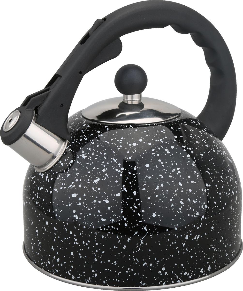 Чайник Bayerhoff, со свистком, цвет: черный мрамор, 3 л. BH-420BH-420Материал: высококачественная нержавеющая сталь. Объем: 3 л. Клапан открывается кнопкой на ручке. Эргономичная ручка не нагревается и не скользит. Подходит для всех типов плит.