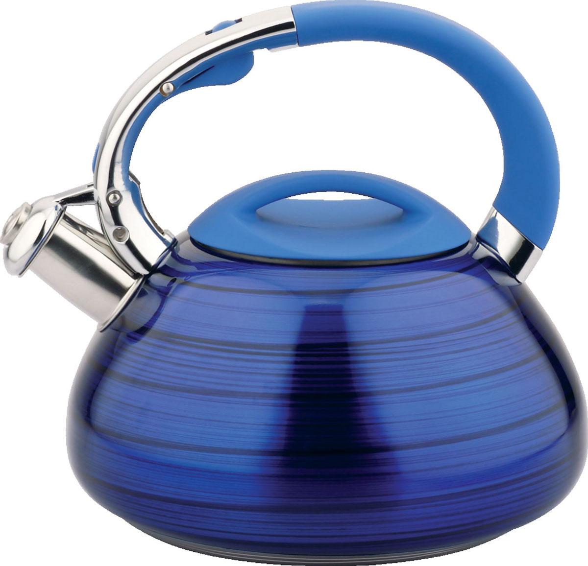 Чайник Bayerhoff, со свистком, цвет: синий металлик, 3 л. BH-421BH-421Материал: высококачественная нержавеющая сталь. Объем: 3 л. Клапан открывается кнопкой на ручке. Эргономичная ручка не нагревается и не скользит. Подходит для всех типов плит.
