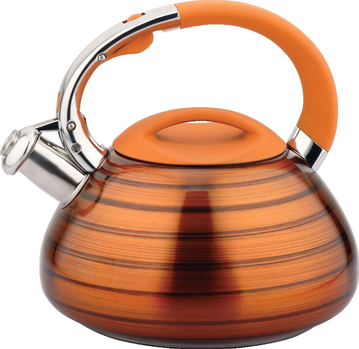 Чайник Bayerhoff, со свистком, цвет: оранжевый металлик, 3 л. BH-422BH-422Материал: высококачественная нержавеющая сталь. Объем: 3 л. Клапан открывается кнопкой на ручке. Эргономичная ручка не нагревается и не скользит. Подходит для всех типов плит.