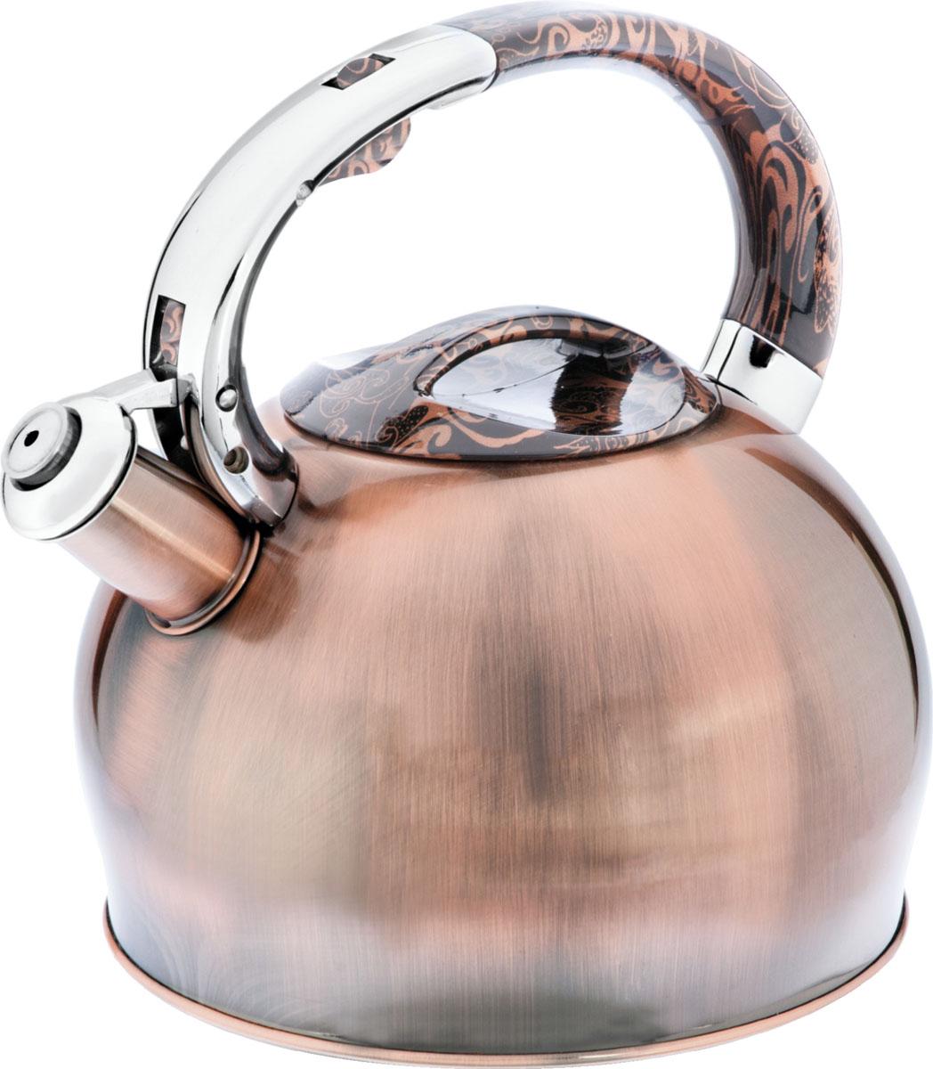 Чайник Bayerhoff, со свистком, цвет: медь, 2,5 л. BH-426BH-426Материал: высококачественная нержавеющая сталь. Объем: 2,5 л. Клапан открывается кнопкой на ручке. Эргономичная ручка не нагревается и не скользит. Подходит для всех типов плит.