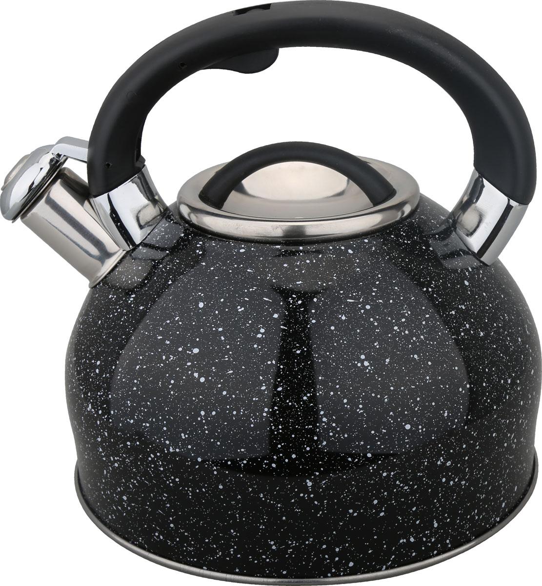 Чайник Bayerhoff, со свистком, цвет: черный, 3 л. BH-439BH-439Материал: высококачественная нержавеющая сталь. Объем: 3,0 л. Клапан открывается кнопкой на ручке. Эргономичная ручка не нагревается и не скользит. Подходит для всех типов плит.