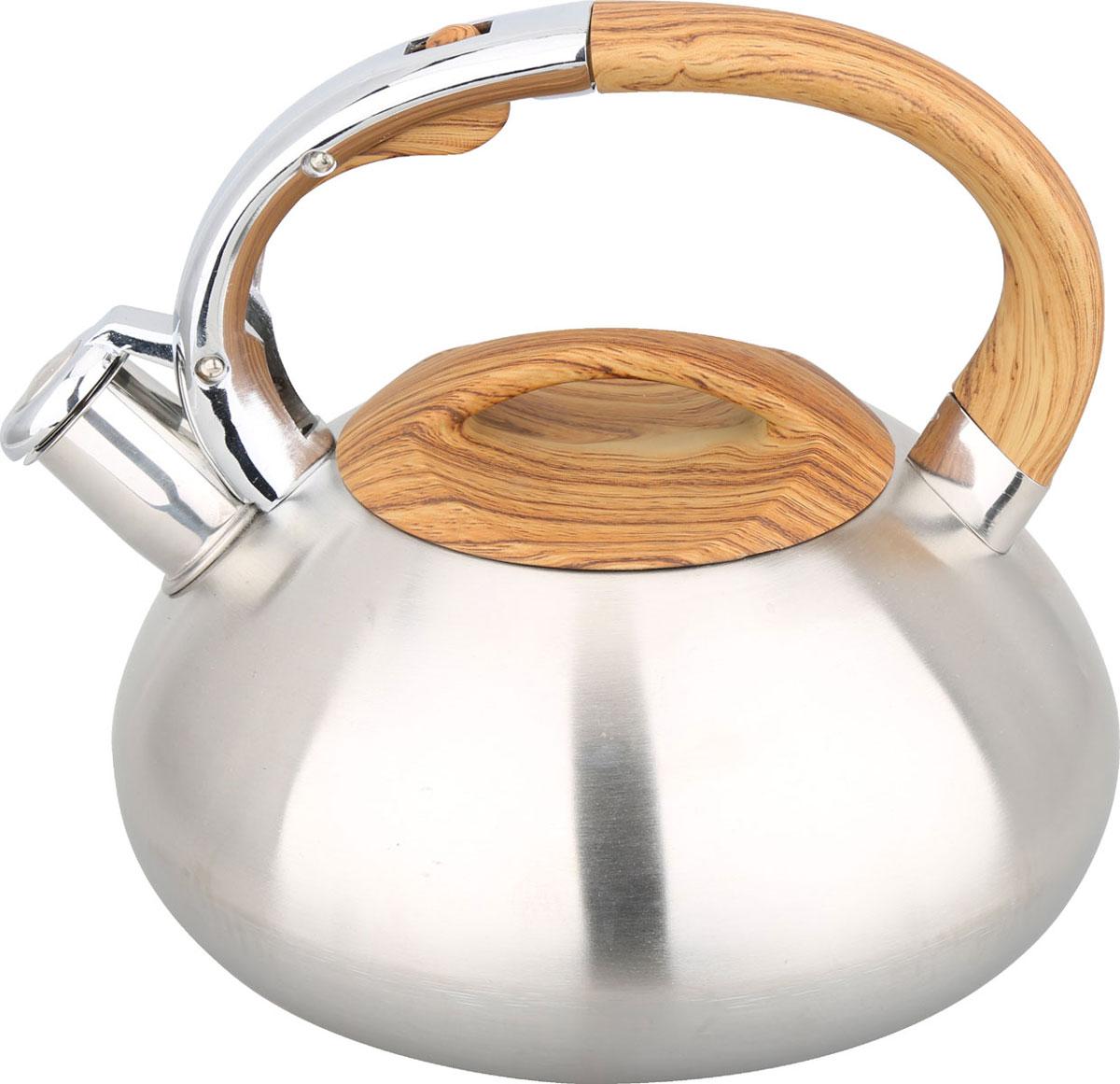 Чайник Bayerhoff, со свистком, цвет: металлик, 3 л. BH-442BH-442Материал: высококачественная нержавеющая сталь. Объем: 3,0 л. Клапан открывается кнопкой на ручке. Эргономичная ручка не нагревается и не скользит. Подходит для всех типов плит.