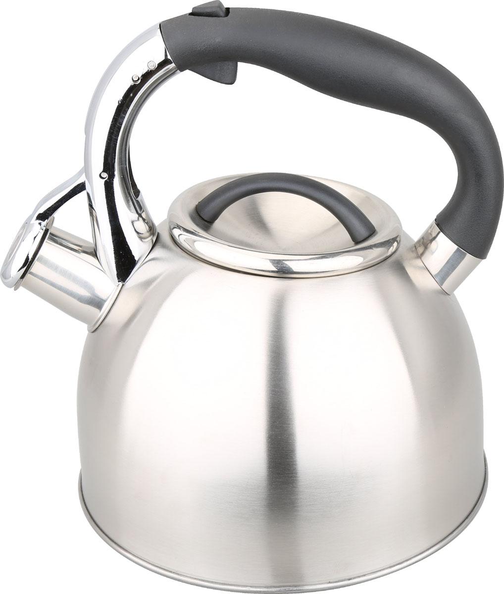 Чайник Bayerhoff, со свистком, цвет: металлик, 2,7 л. BH-447BH-447Чайник Bayerhoff изготовлен из высококачественной нержавеющей стали. Нержавеющаясталь обладает высокой устойчивостью к коррозии, не вступает в реакцию с холодными игорячими продуктами и полностью сохраняет их вкусовые качества. Чайник оснащен удобной пластиковойручкой, которая не нагревается и не скользит. Носикчайника имеет откидной свисток, звуковой сигнал которого подскажет, когда закипит вода.Свисток открывается кнопкой на ручке.Чайник Bayerhoff пригоден для использования на всех видах плит.