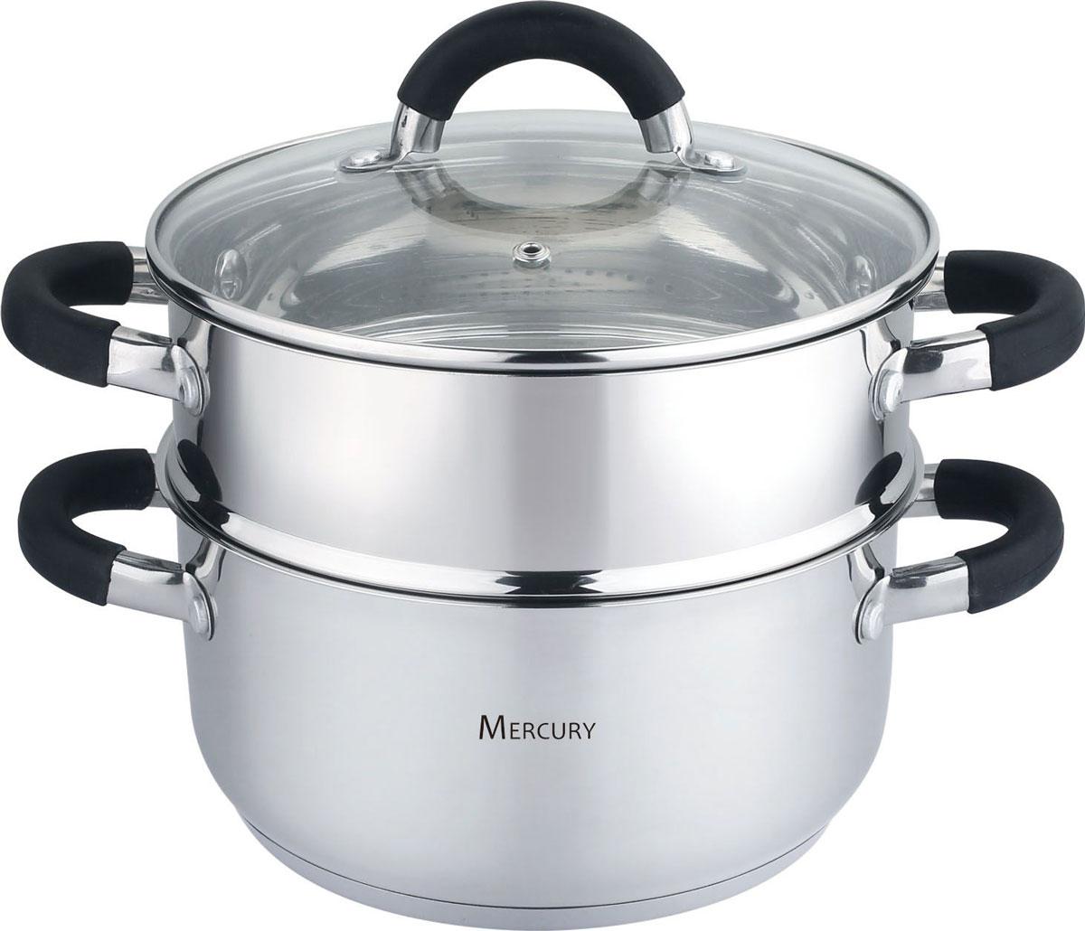 Пароварка Mercury, 2 уровня, 3,5 л. MC-6652MC-6652Пароварка Mercury – двухуровневая посуда для приготовления диетических блюд на водяном пару. Принцип работы пароварки прост: на дно кастрюли наливается вода, которая при нагревании образует пар. Пар проходит через отверстия в поддонах и воздействует на продукты, которые размещены непосредственно на платформах. Пароварка Mercury не только станет идеальным дополнением на кухне, но и позволит перевести приготовление ваших любимых блюд на качественно новый уровень. В набор входят кастрюля, кастрюля с отверстиями и плотно прилегающая стеклянная крышка с металлическим ободком. Пароварка выполнена из высококачественной нержавеющей стали 18/10. Ненагревающиесия ручки выполнены из нержавеющей стали в комбинации с силиконом.Подходит для всех типов плитки, в том числе и для индукционных.