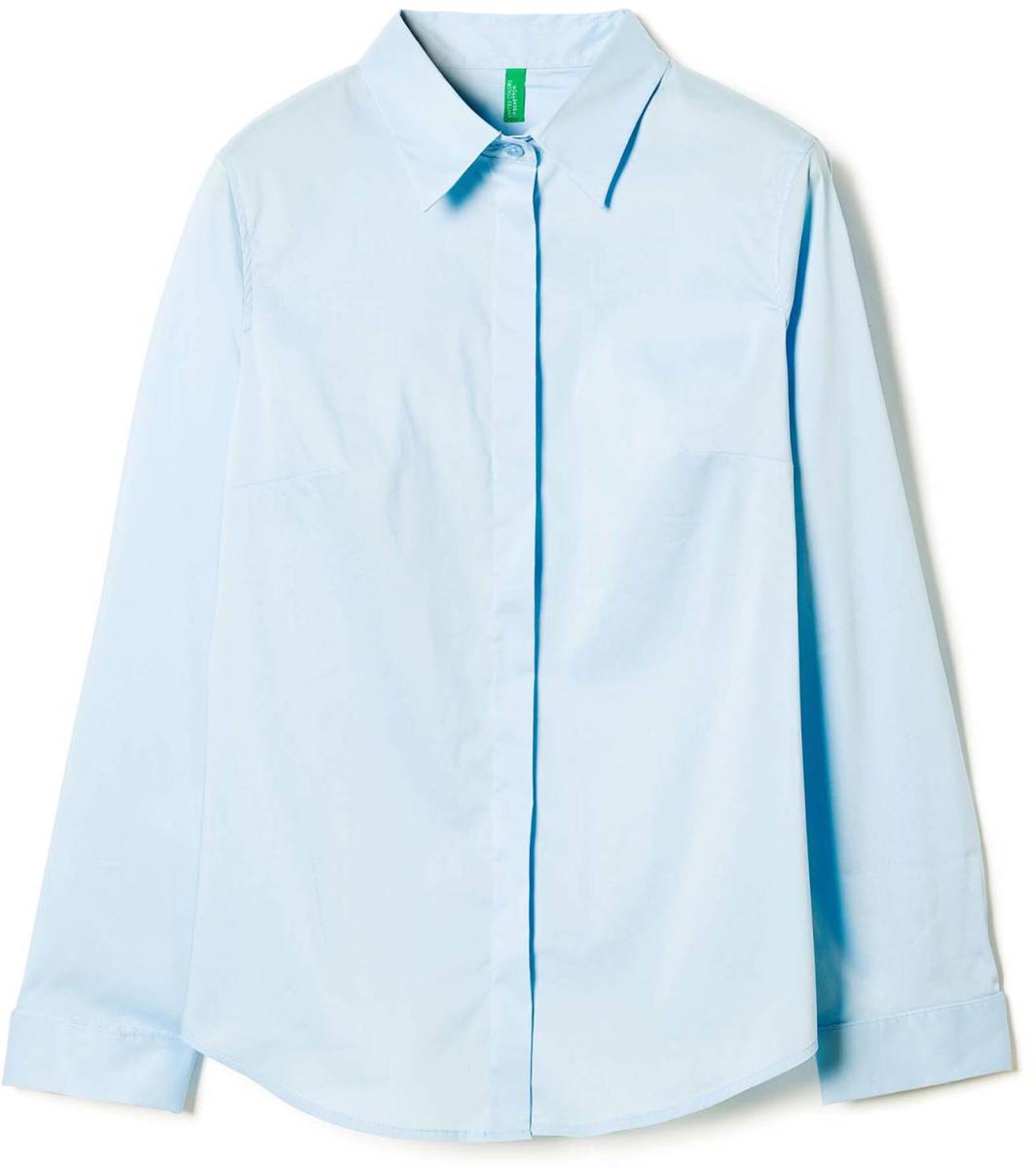 Рубашка жен United Colors of Benetton, цвет: голубой. 5AWR5Q6E3_33G. Размер S (42/44)5AWR5Q6E3_33GРубашка женская United Colors of Benetton выполнено из качественного материала. Модель с отложным воротником застегивается на пуговицы.