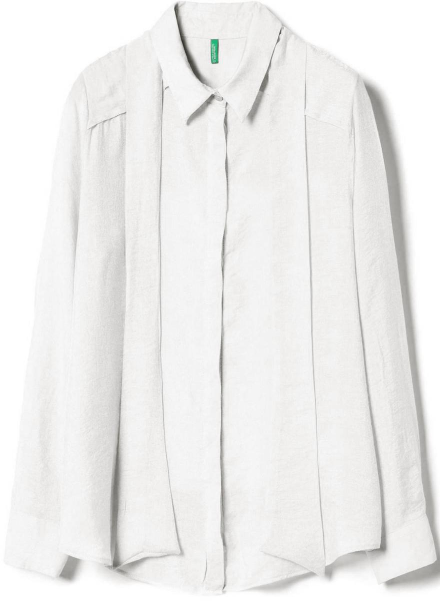 Рубашка жен United Colors of Benetton, цвет: белый. 5BPI5Q7T4_036. Размер L (46/48)5BPI5Q7T4_036Рубашка женская United Colors of Benetton выполнена из качественного материала. Модель с отложным воротником застегивается на пуговицы.