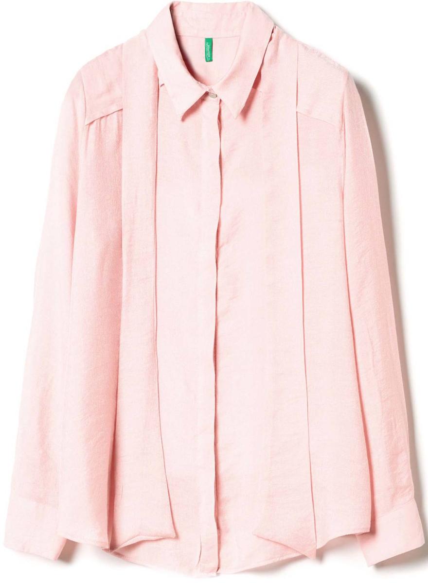 Рубашка жен United Colors of Benetton, цвет: розовый. 5BPI5Q7T4_04U. Размер L (46/48)5BPI5Q7T4_04UРубашка женская United Colors of Benetton выполнена из качественного материала. Модель с отложным воротником застегивается на пуговицы.