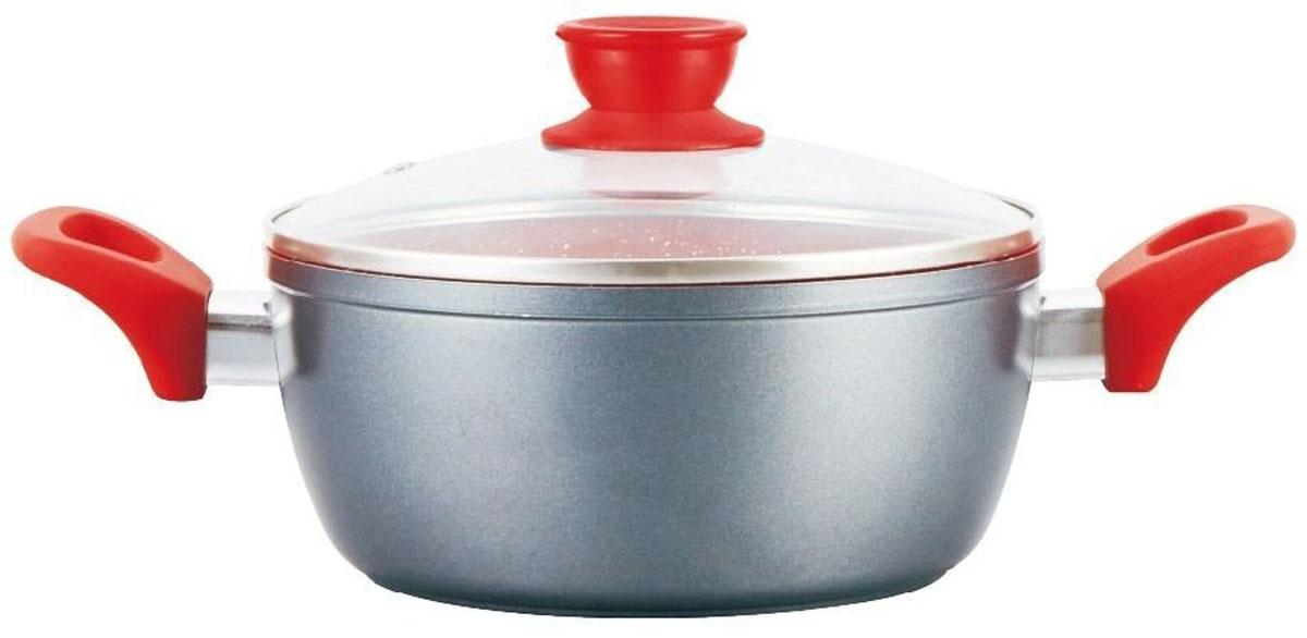 Материал: алюминий.  Объем: 2,1 л.  Диаметр: 18 см.  Мраморное антипригарное покрытие. Ненагревающиеся ручки. Индукционное дно. Можно мыть в посудомоечной машине. Подходит для всех видов плит.