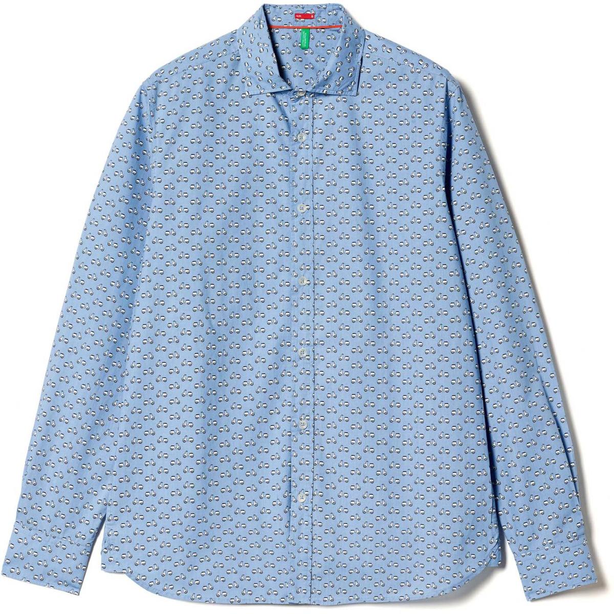 Рубашка муж United Colors of Benetton, цвет: голубой. 5BWF5QBN8_919. Размер M (48/50)5BWF5QBN8_919