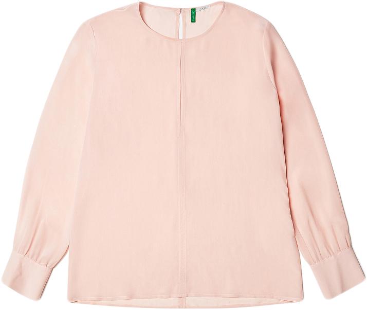 Блузка женская United Colors of Benetton, цвет: розовый. 5CZH5Q7T5_04U. Размер M (44/46)5CZH5Q7T5_04UБлузка женская United Colors of Benetton выполнена из шелка. Модель с круглым вырезом горловины и длинными рукавами.