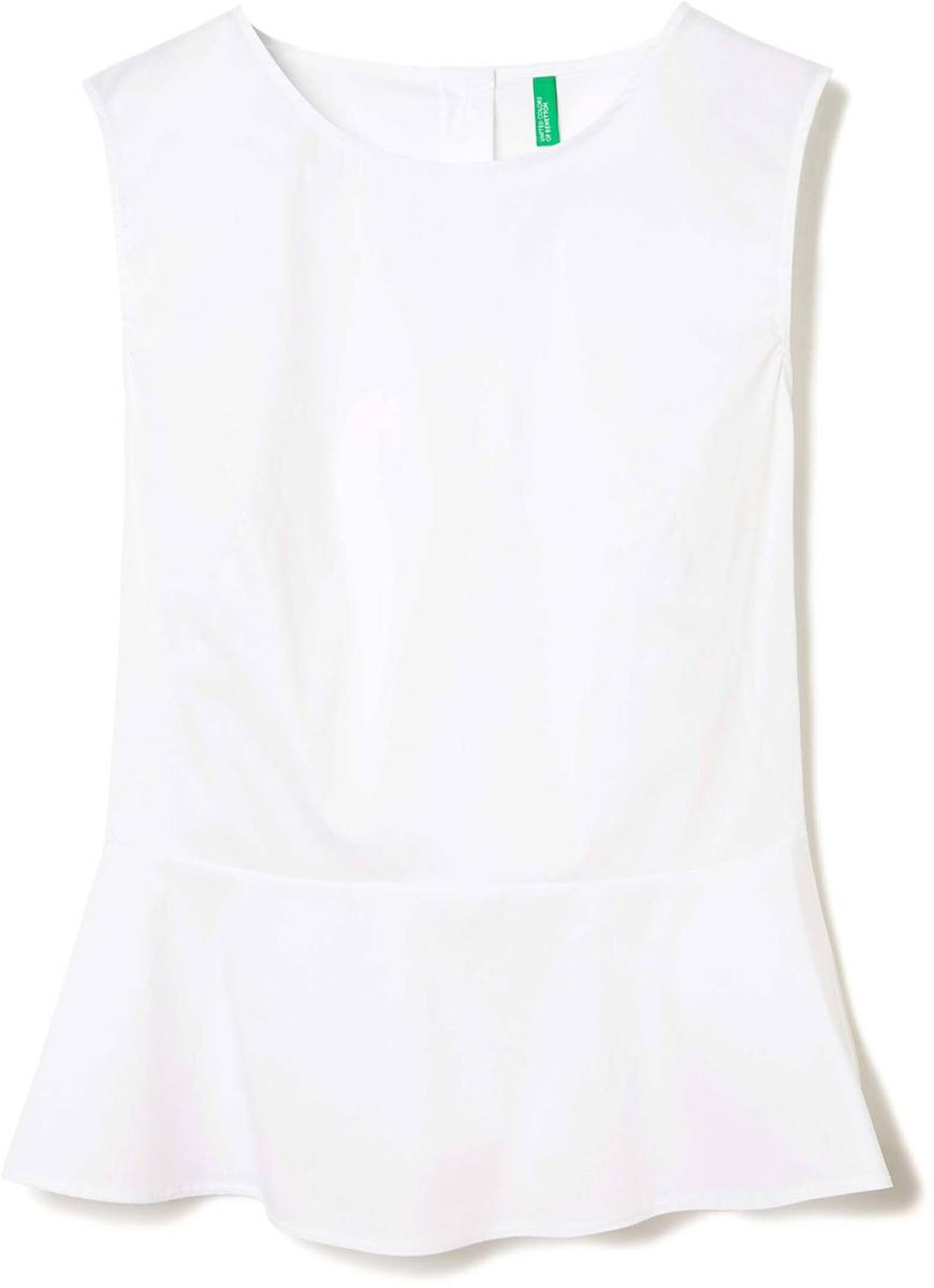 Блузка женская United Colors of Benetton, цвет: белый. 5EF25Q803_101. Размер M (44/46)5EF25Q803_101Блузка женская United Colors of Benetton выполнена из качественного материала. Модель без рукавов с круглым вырезом горловины.