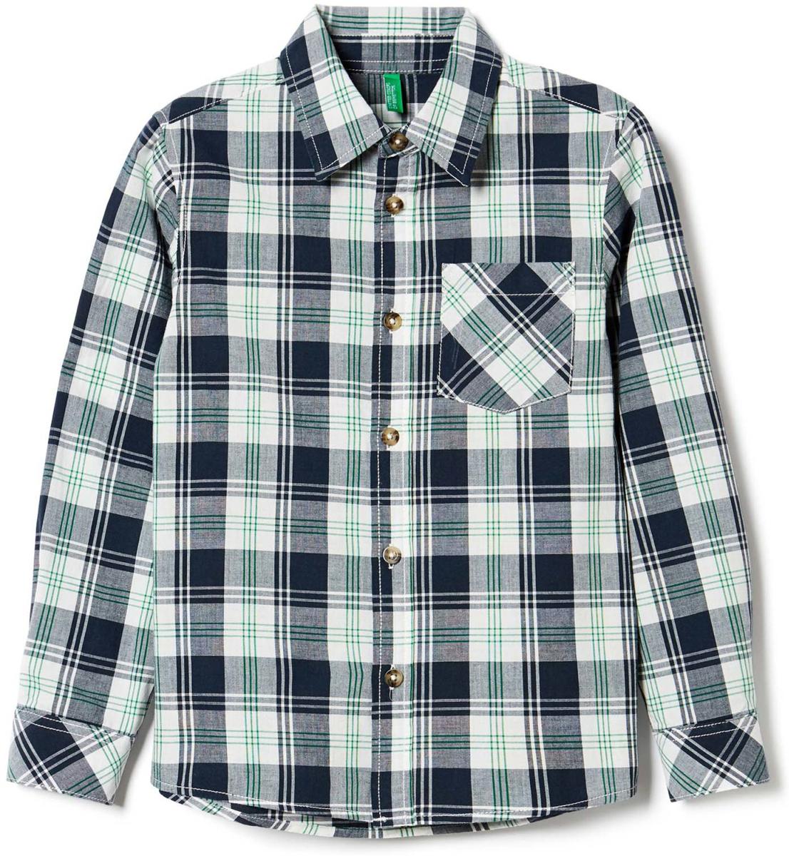 Рубашка для мальчика United Colors of Benetton, цвет: темно-синий. 5FU95Q930_926. Размер 1505FU95Q930_926Рубашка для мальчика United Colors of Benetton выполнена из натурального хлопка. Модель с отложным воротником застёгивается на пуговицы.