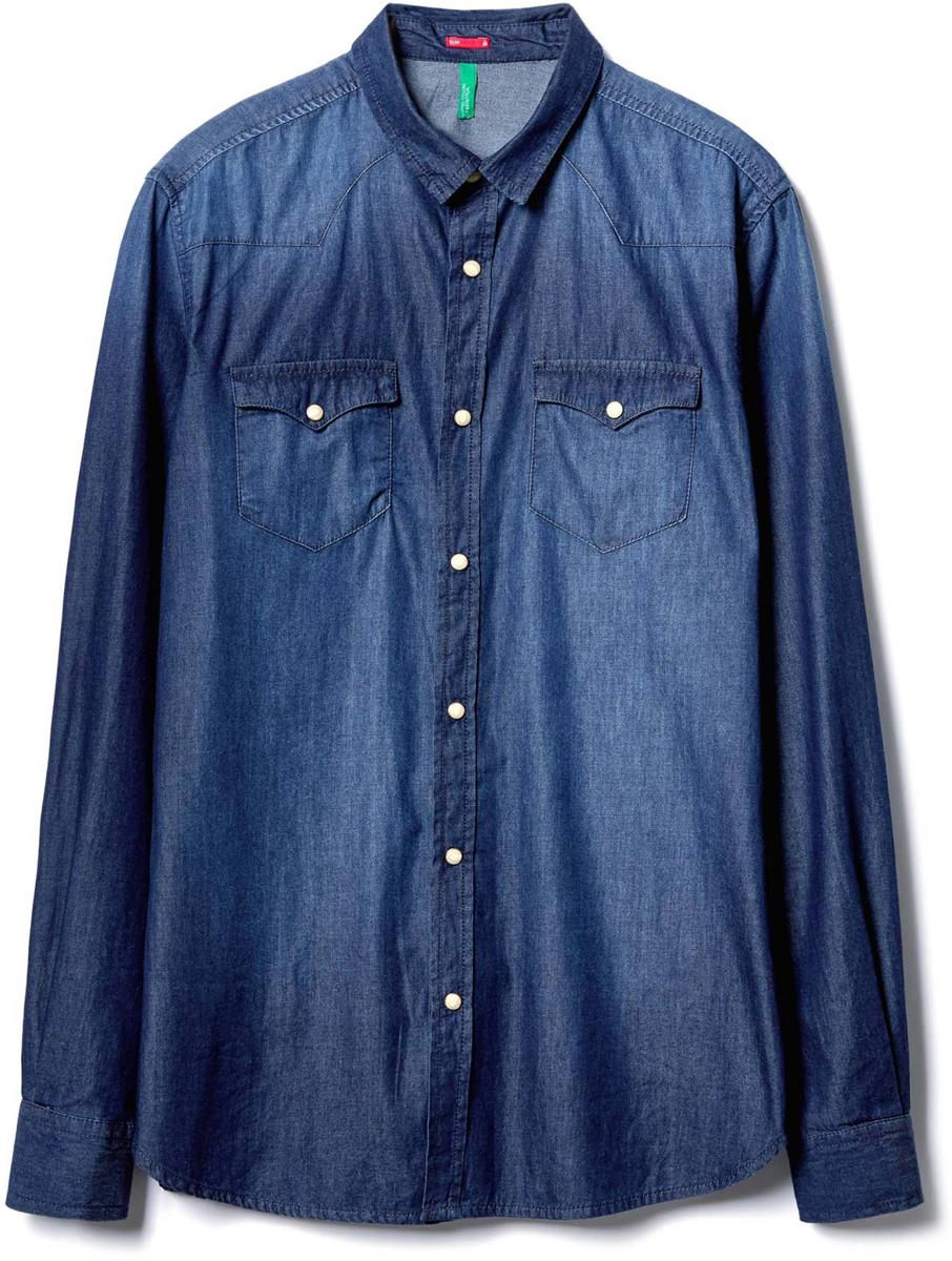 Рубашка муж United Colors of Benetton, цвет: синий. 5LF55QBW8_901. Размер S (46/48)5LF55QBW8_901