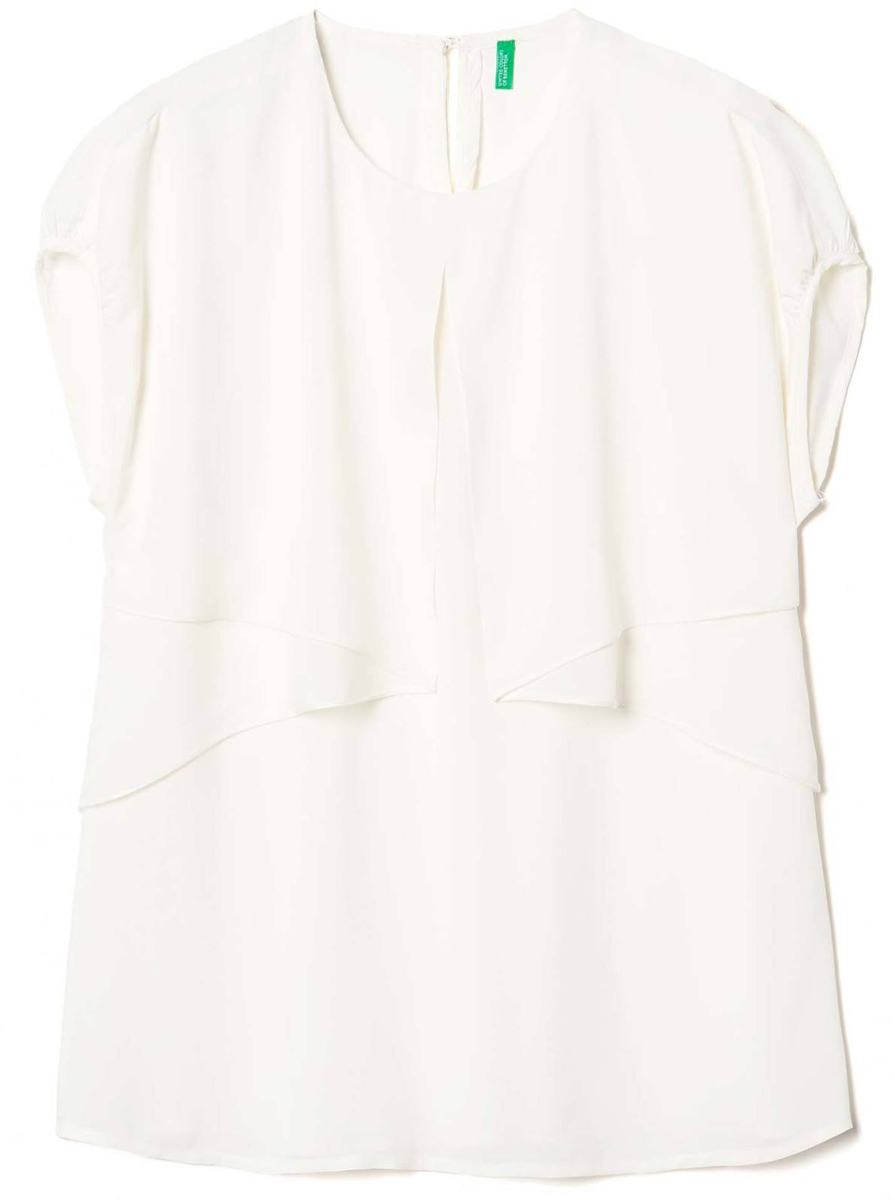 Блузка женская United Colors of Benetton, цвет: белый. 5SF05Q7W5_036. Размер M (44/46)5SF05Q7W5_036Блузка женская United Colors of Benetton выполнена из вискозы. Модель с короткими рукавами и круглым вырезом горловины.