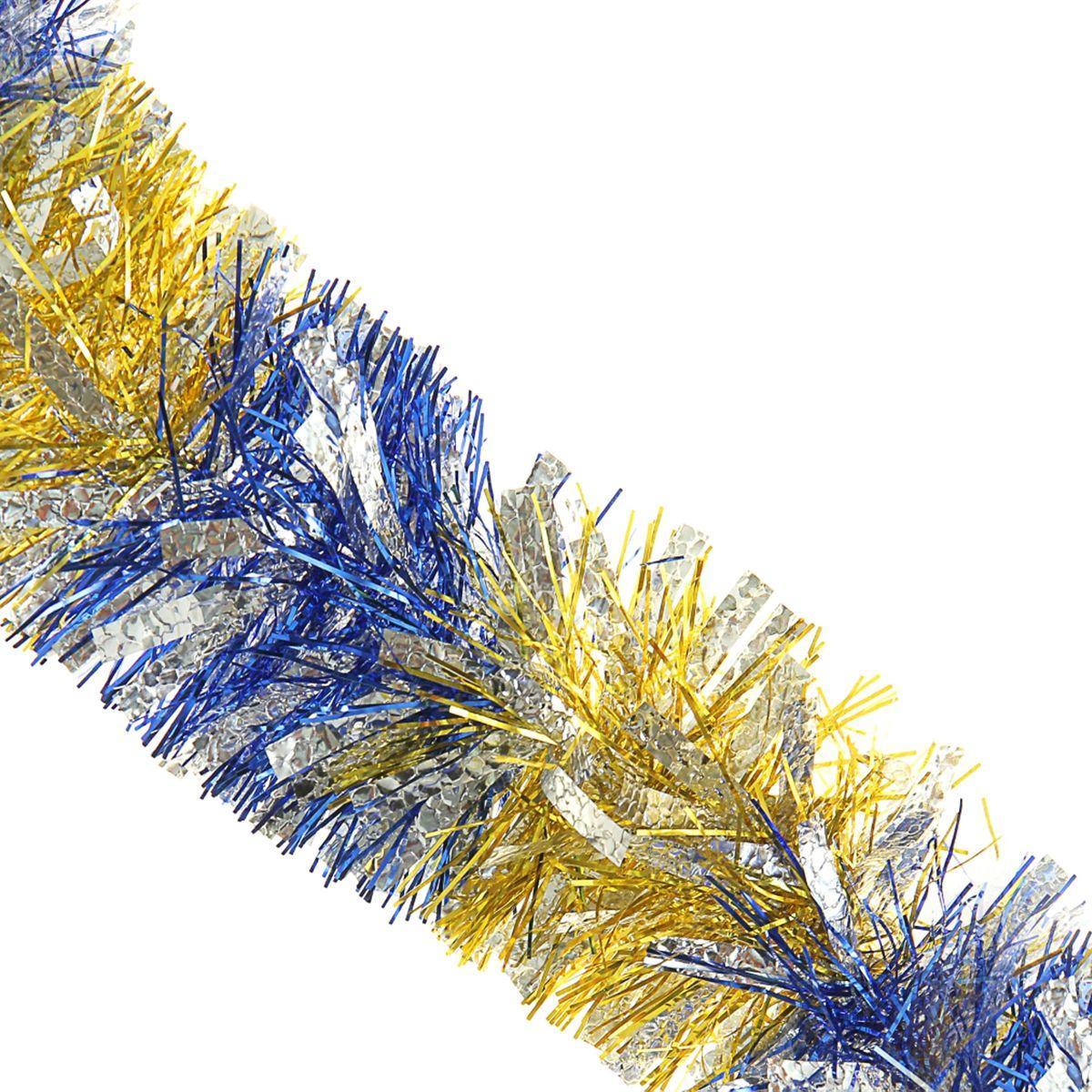 Мишура новогодняя Sima-land, цвет: золотистый, синий, серебристый,диаметр 9 см, длина 200 см. 452424452424_золотистый, синий, серебристыйНовогодняя мишура Sima-land, выполненная из ПВХ, поможет вам украсить свой дом к предстоящим праздникам. Новогодняя елка с таким украшением станет еще наряднее. Новогодней мишурой можно украсить все, что угодно - елку, квартиру, дачу, офис - как внутри, так и снаружи. Можно сложить новогодние поздравления, буквы и цифры, мишурой можно украсить и дополнить гирлянды, можно выделить дверные колонны, оплести дверные проемы.