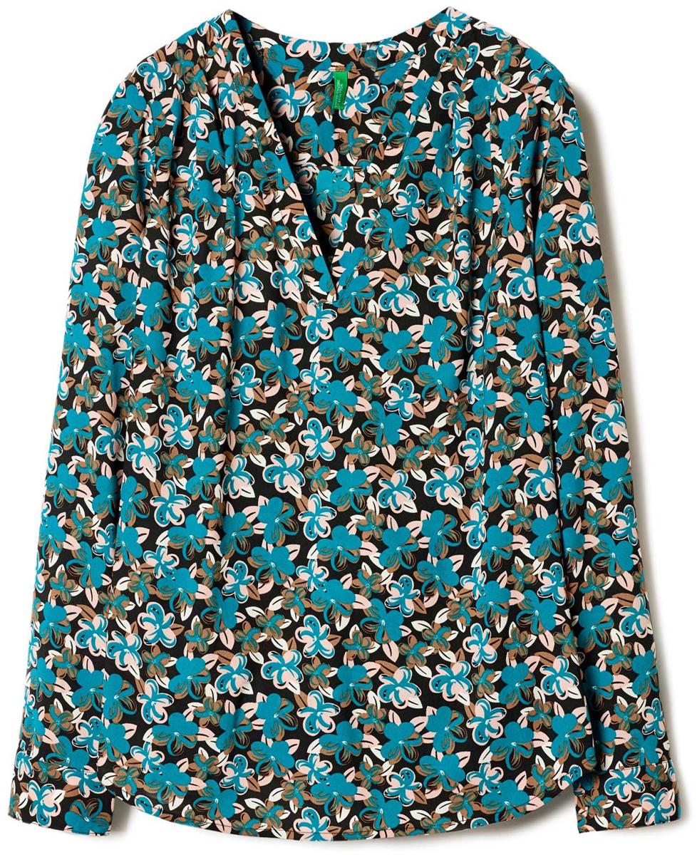 Фото - Блузка женская United Colors of Benetton, цвет: черный, бирюзовый. 5VV65Q7V4_75Q. Размер M (44/46) плавки united colors of benetton united colors of benetton un012ewacdk6