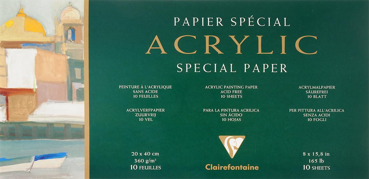 Альбом Clairefontaine  Acrylic , для акрила и гуаши, 20 х 40 см, 10 листов -  Бумага и картон