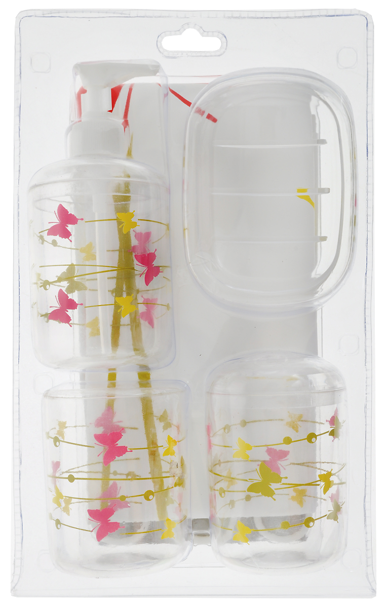 """Набор для ванной комнаты """"Top Star"""" состоит из стакана, стакана для зубных щеток, дозатора для жидкого мыла, мыльницы и шторы для душа. Стаканы, дозатор и мыльница изготовлены из высококачественного пластика. Штора выполнена из  ПЕВА (полиэтиленвинилацетат). Аксессуары, входящие в набор """"Top Star"""", выполняют не только практическую, но и декоративную функцию. Они способны внести в помещение изысканность, сделать пребывание в нем приятным и даже незабываемым. Диаметр стакана для зубных щеток: 7 см.Высота стакана для зубных щеток: 10,5 см. см.Высота стакана: 9 см.Диаметр дозатора: 7 см. Высота дозатора: 16 см. Размер мыльницы: 12 х 9 х 3 см. Размер шторки для душа: 180 х 180 см."""