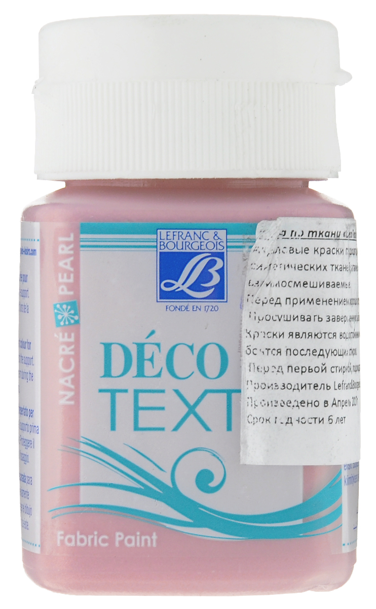 """Краска акриловая Lefranc & Bourgeois """"Deco Textil"""", для декорирования тканей, цвет: перламутровый розовый (742), 50 мл"""