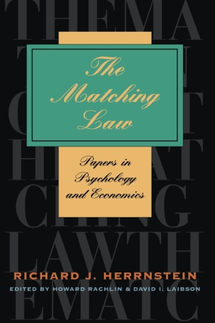 The Matching Law – Papers in Psychology & Economics abnormal psychology 4e