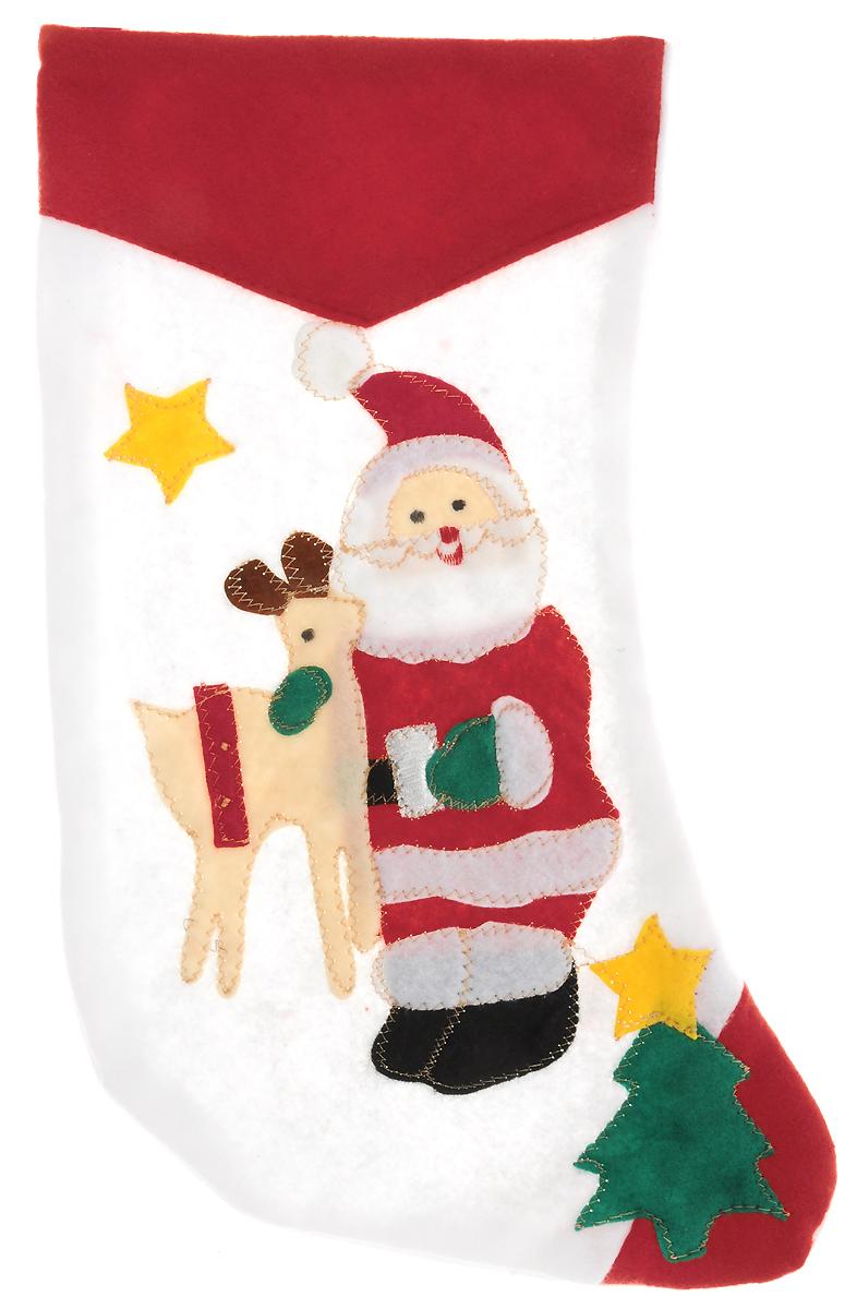 Мешок для подарков Winter Wings Носок. Дед Мороз и Олень, цвет: красный, белый, 40 х 26 х 1 смN02024/Дед Мороз и ОленьМешок для подарков Winter Wings Носок. Дед Мороз и Олень выполнен из полиэстера в виденоска с изображением Деда Мороза и Оленя. В мешочек можно спрятать подарки. С помощьюспециальной петельки украшение можно повесить в любом понравившемся вамместе.Новогодние украшения несут в себе волшебство икрасоту праздника. Они помогут вам украсить дом кпредстоящим праздникам и оживить интерьер по вашемувкусу. Создайте в доме атмосферу тепла, веселья ирадости, украшая его всей семьей.