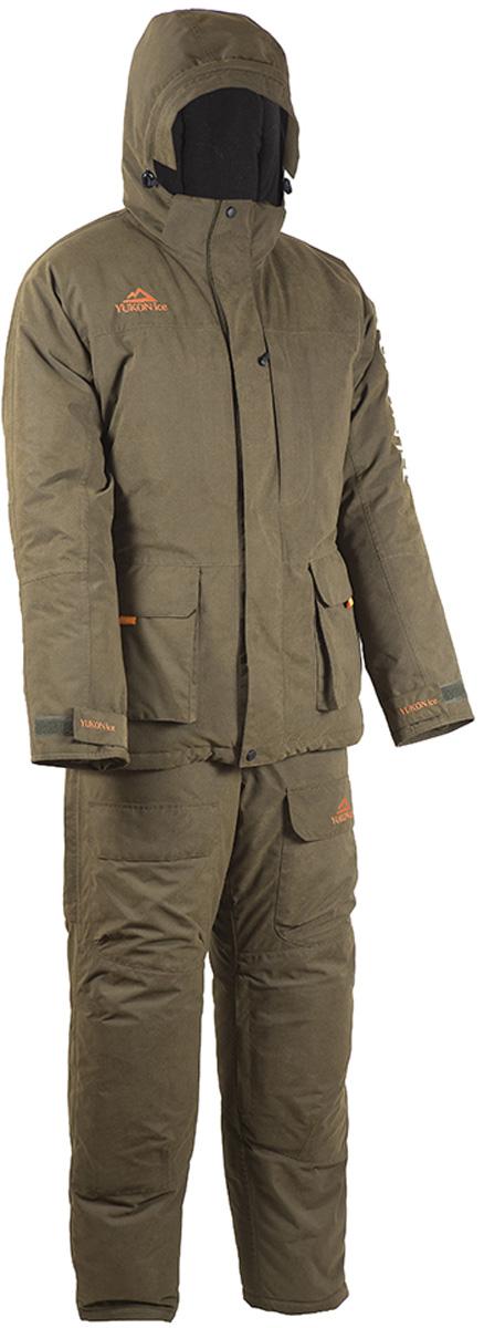Костюм рыболовный мужской HUNTSMAN Yukon Ice: куртка, полукомбинезон, цвет: хаки. yf_102-521. Размер 56/58, рост 182yf_102-521Зимний рыболовный костюм Yukon Ice от Huntsman изготовлен из современного материала с повышенными влагозащитными и паропроницаемыми свойствами FINLYANDIA. Костюм состоит из куртки и полукомбинезона.Материал -Finlyandia - мембрана (10000 мм вд. ст./10000 гр/м2/24 час); подкладка (спинка и полочки) - Polar Fleece (180 гр/м2); утеплитель Radotex: куртка 450 гр/м2, полукомбинезон 300 гр/м2.Куртка с регулируемым по объёму капюшоном застегивается на двухзамковую молнию под двойной ветрозащитной планкой. Изделие имеет два вместительных накладных кармана с внутренней отделкой из флиса, два нагрудных кармана и внутренний карман на молниях. По нижнему краю и поясу куртки предусмотрены утяжки со стопперами. Рукава дополнены регулируемыми манжетами. Полукомбинезон с регулируемыми лямками спереди оснащен застежкой на двухзамковую молнию под ветрозащитной планкой и дополнен двумя объемными накладными карманами. Накладки в области колен и седалища со съемными водонепроницаемыми вставками. Внутренние снегозащитные гетры. Регулировка ширины низа брючин осуществляется с помощью застежки-молнии и клапана на липучке.
