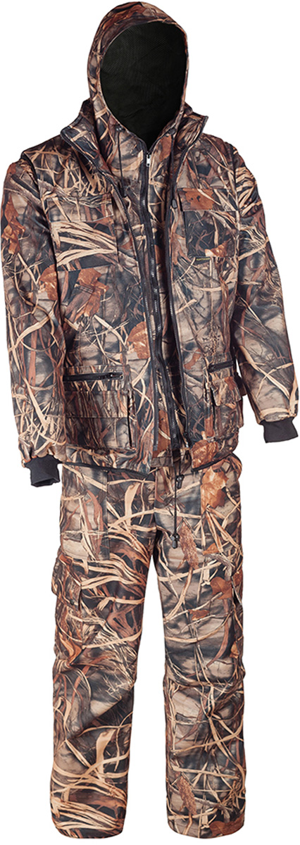 Костюм рыболовный мужской HUNTSMAN Тайга-3: куртка, брюки, жилет, цвет: камыш. t_3_100-703. Размер 44/46, рост 170t_3_100-703Рыболовный костюм-тройка Тайна-3 от Huntsman состоит из куртки-штормовки, брюк и жилета. Изделия выполнены из материала Алова-мембрана с подкладкой Таффета, трикотажной сеткой и утеплителем Radotex (150 гр/м2). Демисезонная куртка с капюшоном застегивается на молнию, имеет 4 кармана, на рукавах предусмотрены эластичные манжеты из рибаны. Брюки с застежкой на пуговицы на гульфике имеют пояс на резинке со шлевками для ремня и оснащены 4 карманами. Утепленный разгрузочный жилет своротником-стойкой застегивается на молнию и имеет 10 функциональных карманов. Костюм выполнен в камуфляжной расцветке с маскировочным эффектом.