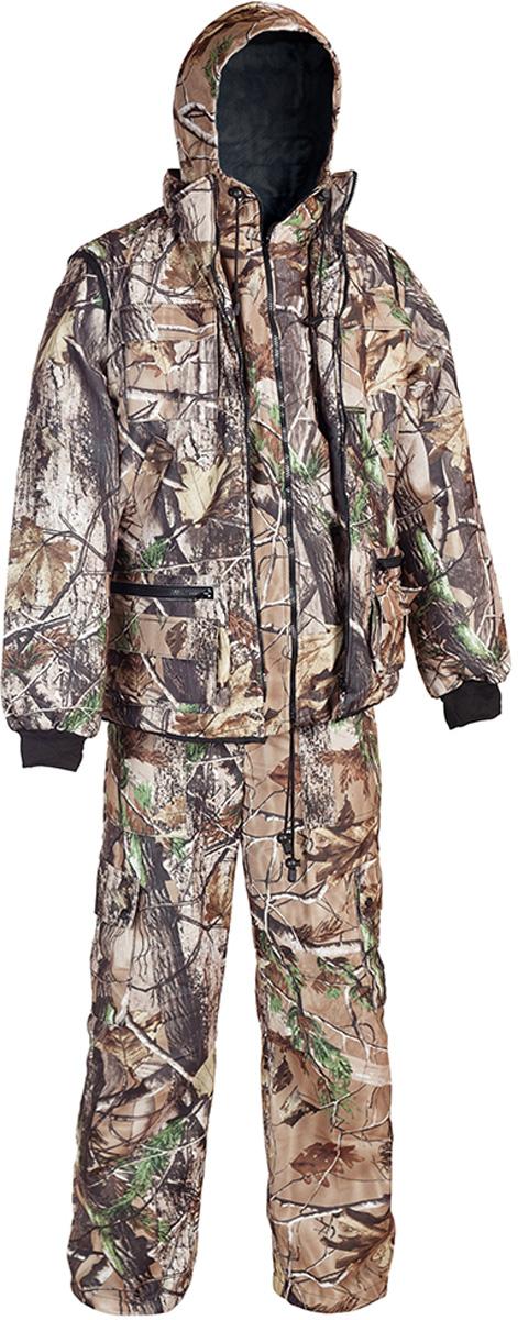 Костюм рыболовный мужской HUNTSMAN Тайга-3: куртка, брюки, жилет, цвет: светлый лес. t_3_100-029. Размер 44/46, рост 170t_3_100-029Рыболовный костюм-тройка Тайна-3 от Huntsman состоит из куртки-штормовки, брюк и жилета. Изделия выполнены из материала Алова-мембрана с подкладкой Таффета, трикотажной сеткой и утеплителем Radotex (150 гр/м2). Демисезонная куртка с капюшоном застегивается на молнию, имеет 4 кармана, на рукавах предусмотрены эластичные манжеты из рибаны. Брюки с застежкой на пуговицы на гульфике имеют пояс на резинке со шлевками для ремня и оснащены 4 карманами. Утепленный разгрузочный жилет своротником-стойкой застегивается на молнию и имеет 10 функциональных карманов. Костюм выполнен в камуфляжной расцветке с маскировочным эффектом.