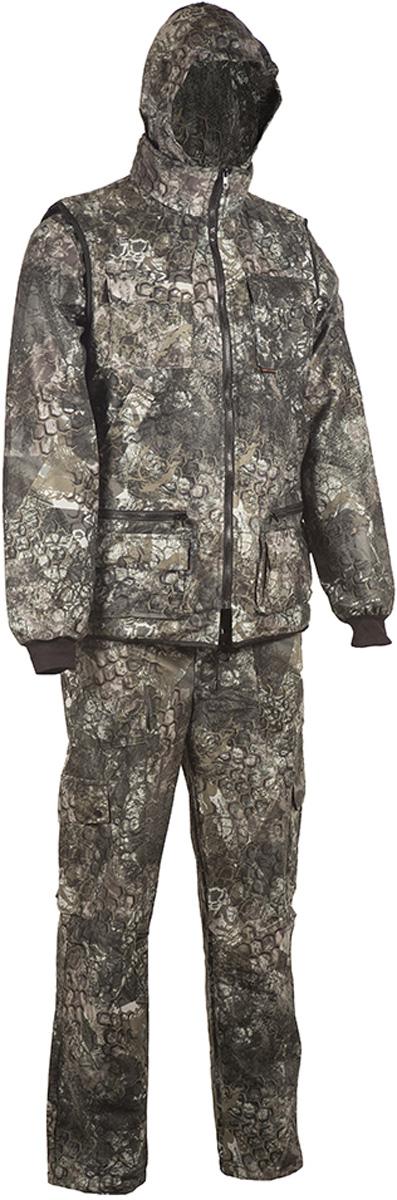 Костюм рыболовный мужской HUNTSMAN Тайга-3: куртка, брюки, жилет, цвет: калейдоскоп. t_3_100-027. Размер 56/58, рост 182t_3_100-027Рыболовный костюм-тройка Тайна-3 от Huntsman состоит из куртки-штормовки, брюк и жилета. Изделия выполнены из материала Алова-мембрана с подкладкой Таффета, трикотажной сеткой и утеплителем Radotex (150 гр/м2). Демисезонная куртка с капюшоном застегивается на молнию, имеет 4 кармана, на рукавах предусмотрены эластичные манжеты из рибаны. Брюки с застежкой на пуговицы на гульфике имеют пояс на резинке со шлевками для ремня и оснащены 4 карманами. Утепленный разгрузочный жилет своротником-стойкой застегивается на молнию и имеет 10 функциональных карманов. Костюм выполнен в камуфляжной расцветке с маскировочным эффектом.