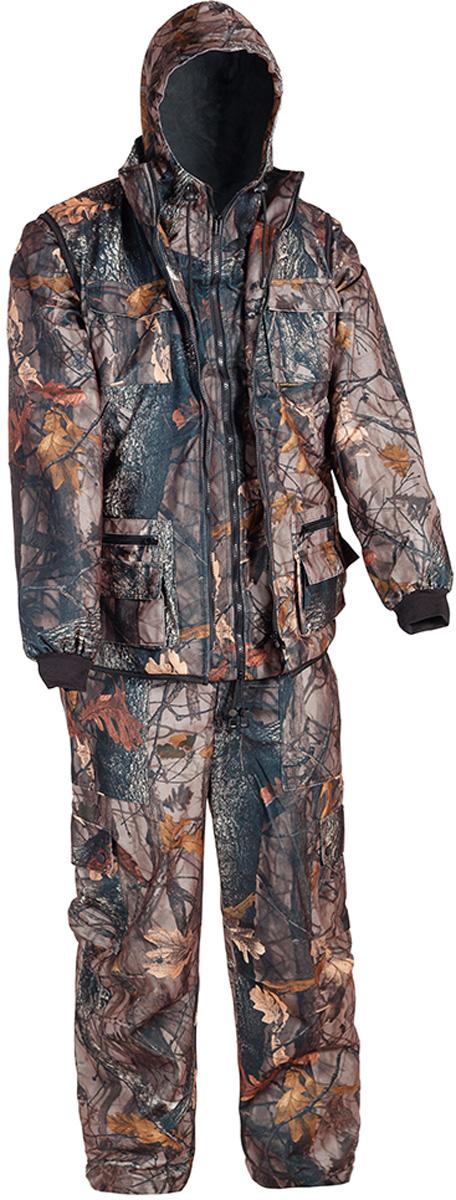 Костюм рыболовный мужской HUNTSMAN Тайга-3: куртка, брюки, жилет, цвет: темный лес. t_3_100-028. Размер 60/62, рост 188t_3_100-028Рыболовный костюм-тройка Тайна-3 от Huntsman состоит из куртки-штормовки, брюк и жилета. Изделия выполнены из материала Алова-мембрана с подкладкой Таффета, трикотажной сеткой и утеплителем Radotex (150 гр/м2). Демисезонная куртка с капюшоном застегивается на молнию, имеет 4 кармана, на рукавах предусмотрены эластичные манжеты из рибаны. Брюки с застежкой на пуговицы на гульфике имеют пояс на резинке со шлевками для ремня и оснащены 4 карманами. Утепленный разгрузочный жилет своротником-стойкой застегивается на молнию и имеет 10 функциональных карманов. Костюм выполнен в камуфляжной расцветке с маскировочным эффектом.