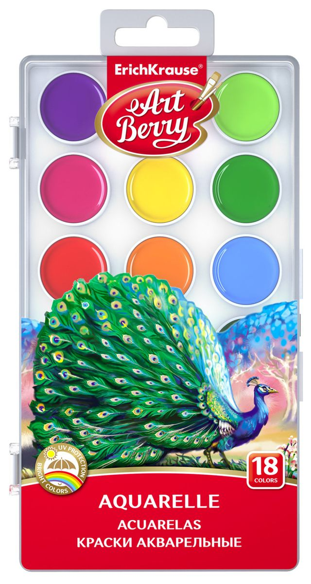Erich Krause Акварель ArtBerry 18 цветов краски erich krause пальчиковые artberry 4 банки