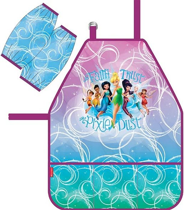 Disney Фартук детский Феи Цветочная вечеринка с нарукавниками42274Фартук для детского творчества с нарукавниками. Нарукавники на липучках-фиксаторах. Легкая ткань с водоотталкивающей пропиткой. Фартук дополнен тремя кармашками.