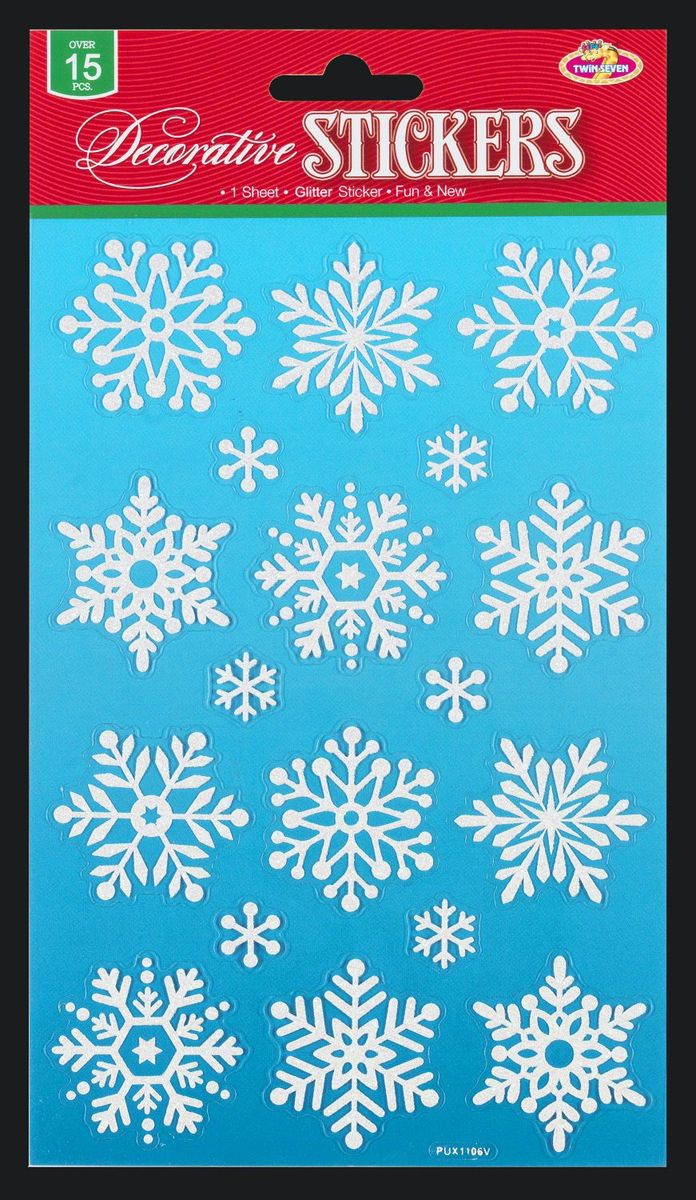 Набор состоит из множества белоснежных снежинок с блестками. Наклейки  быстро крепятся и легко снимаются, при этом не оставляют следов. Предназначены для декорирования помещений. Особенно хорошо снежинки  смотрятся на стеклянных поверхностях и мебели. Не рекомендуется использовать детям до 3 лет. Упаковка - картонная подложка с европодвесом в полибэге высокого качества.
