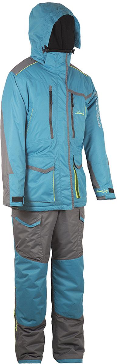 Костюм рыболовный женский HUNTSMAN Siberia Lady: куртка, полукомбинезон, цвет: бирюза, серый. sl_100-011. Размер 56/58, рост 170-176